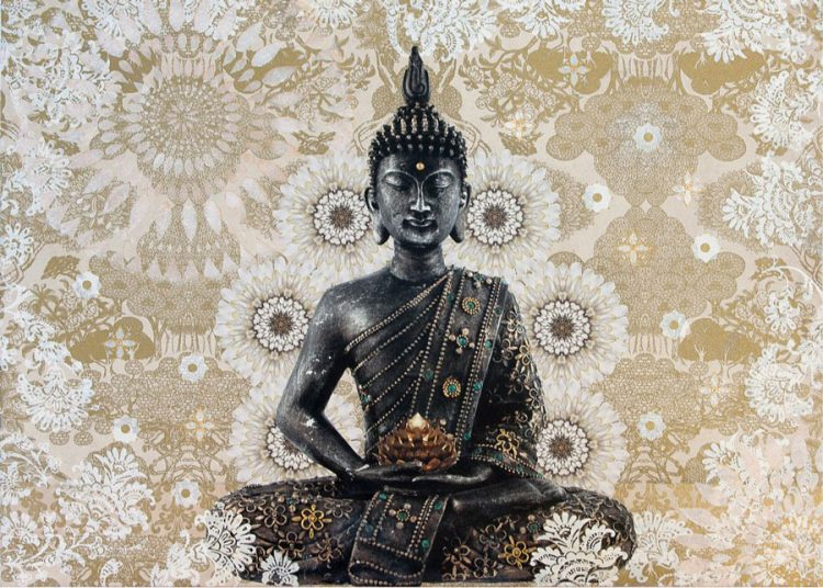 Buddha with White Flowers Prints