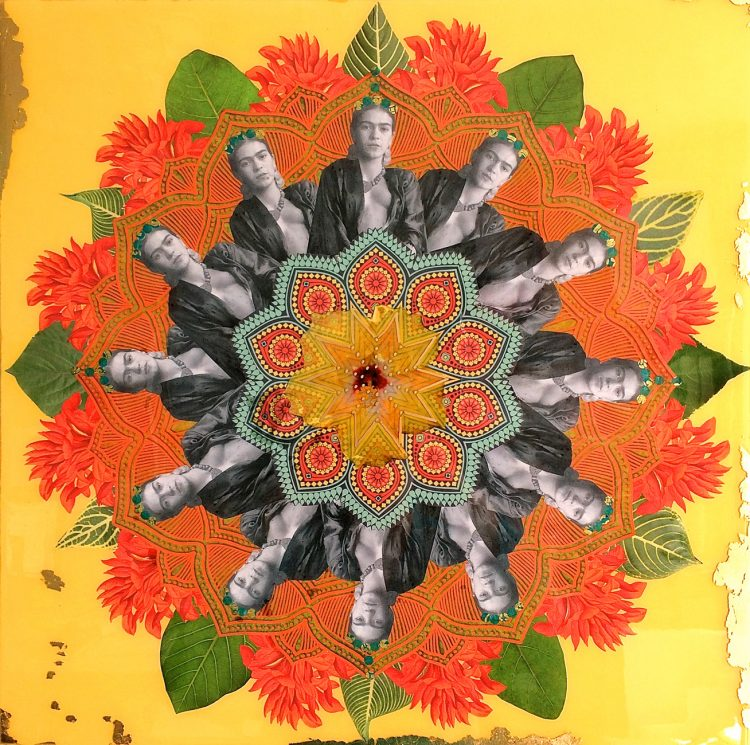 Frida Mandala with gold leaf, resin