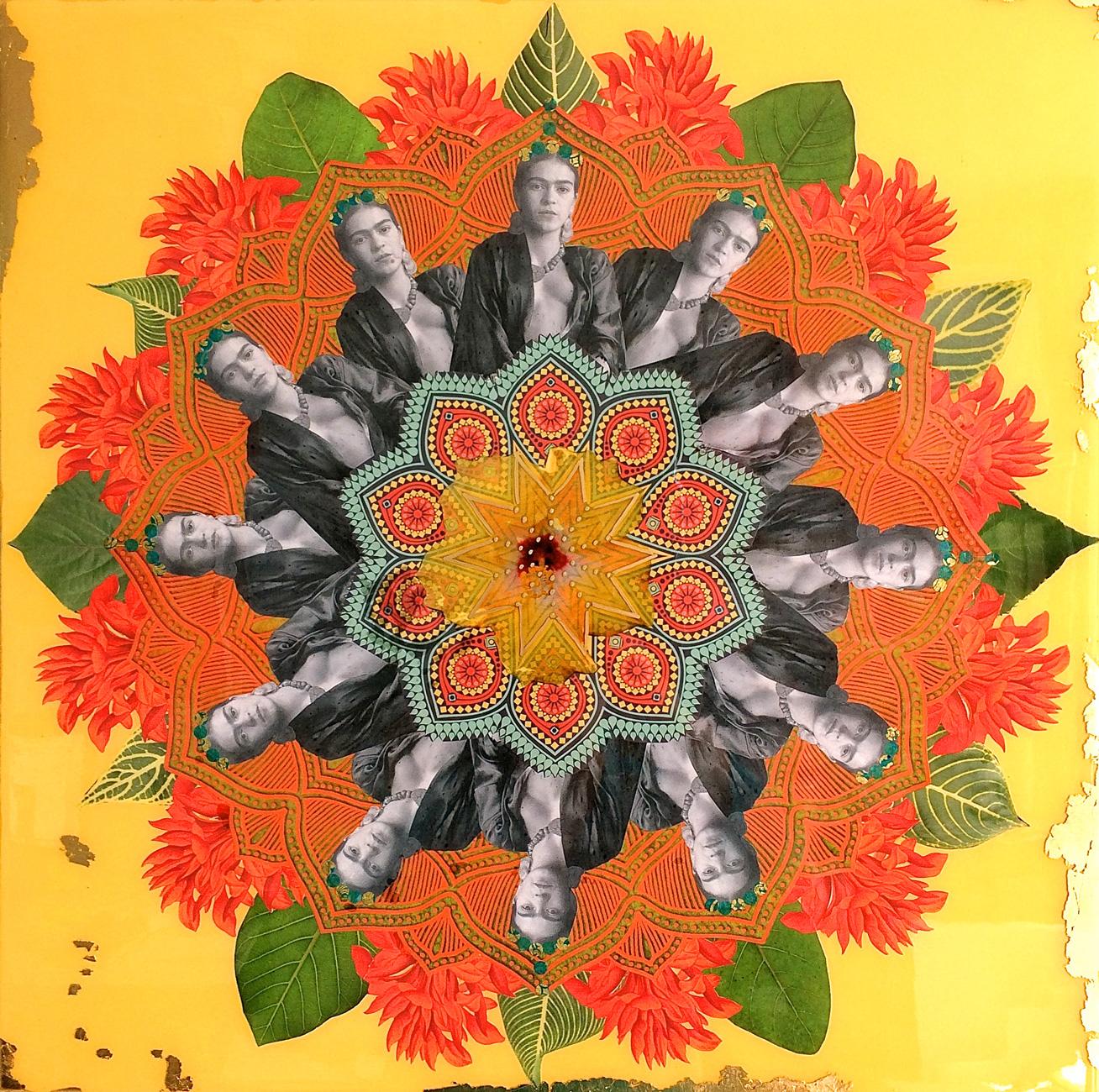 Frida Mandala with gold leaf, resin