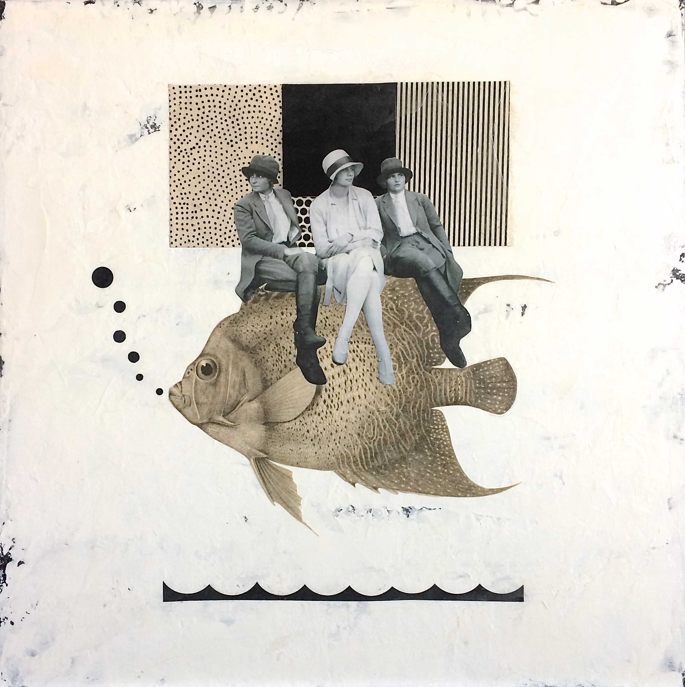 Three Dames on a Fish: Mixed media on wood panel